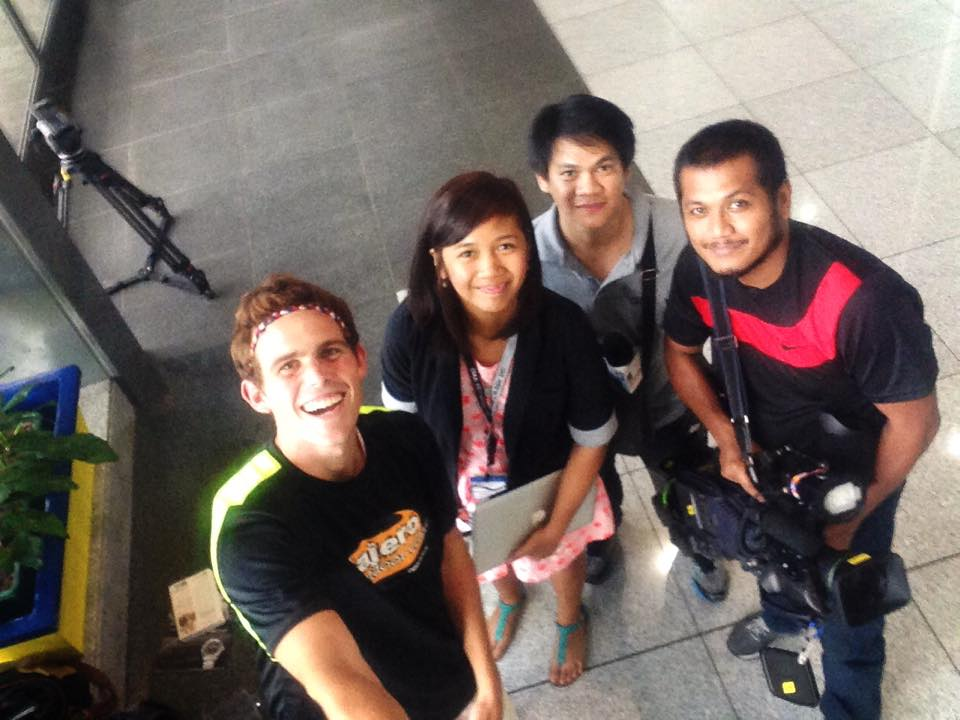 Lian and the GMA camera guys during our airport interview