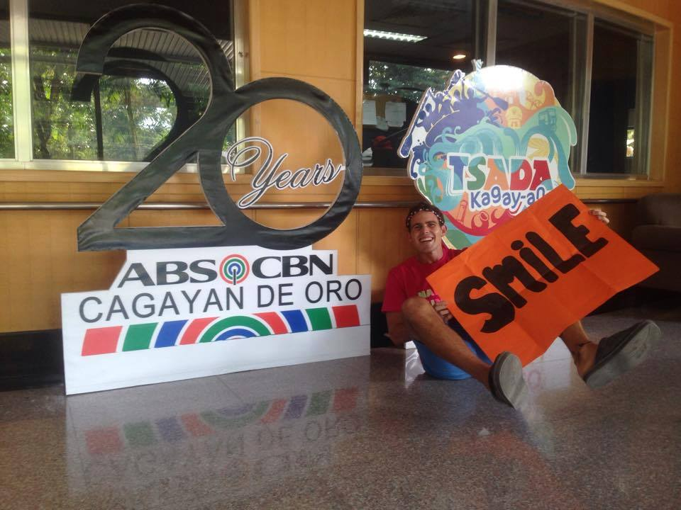 Smiling with the Abs-Cbn sign because of the inspiration the people working there threw into my life.